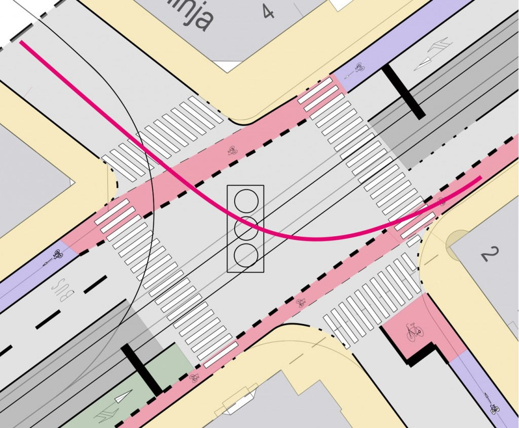 Kuva 115 Sekaliikenteestä voidaan yleensä kääntyä yhdessä vaiheessa vasemmalle. Vilkkaissa liikennevaloristeyksissä pyöräilijä voi myös tehdä pitkän käännöksen, jos se hänestä tuntuu turvallisemmalta.